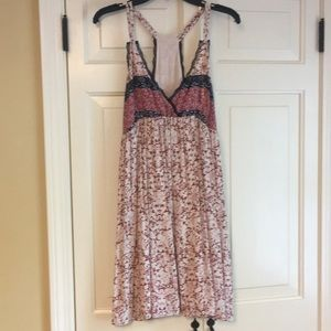Bohemian pink and and navy summer dress